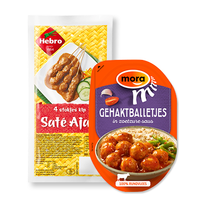categorie-afbeelding Mora of Hebro saté, gehaktballetjes in saus, loempia of Mora broodje