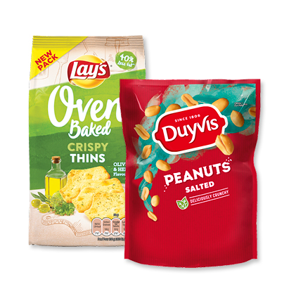 categorie-afbeelding Duyvis Peanuts, Duyvis Mixups, Lay's Crispy Thins of Lay's Crunchy Biscuits