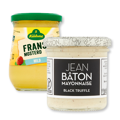 categorie-afbeelding Jean Bâton mayonaise of dressing, Kühne mosterd of remoulade of Made for Meat saus
